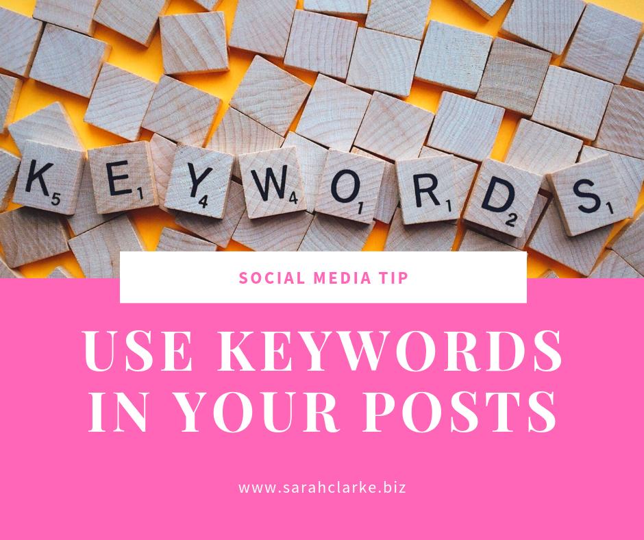social media tip use keywords in your posts