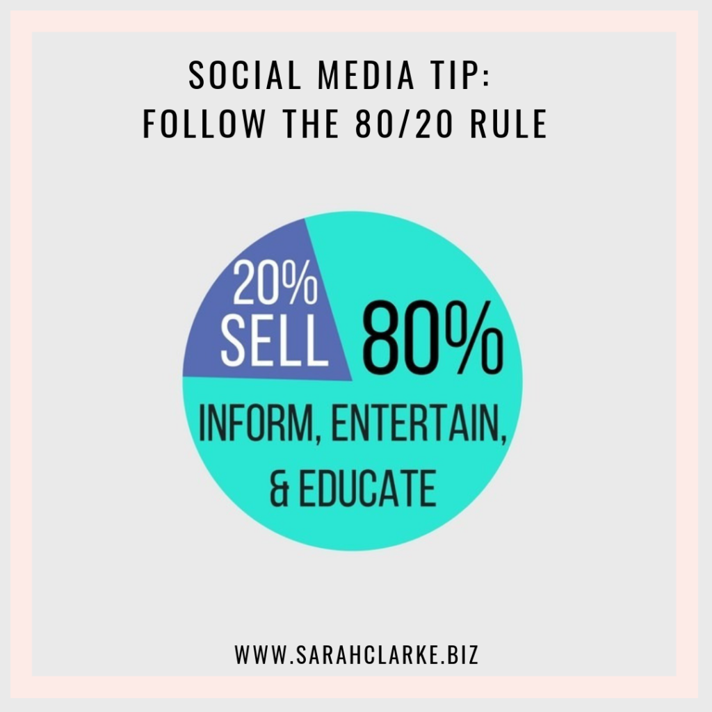 social media tip follow the 80 / 20 rule