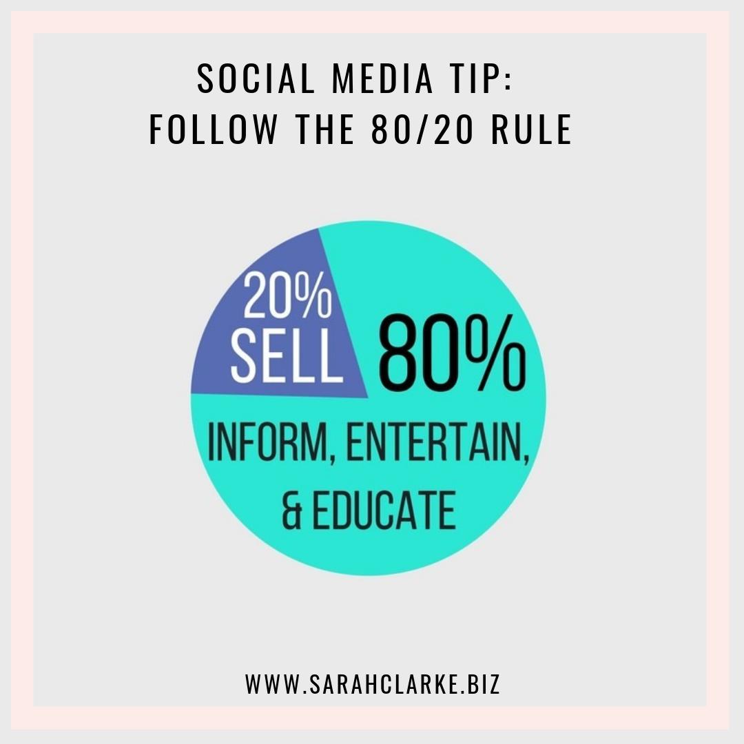 social media tip follow the 80 / 20 rule
