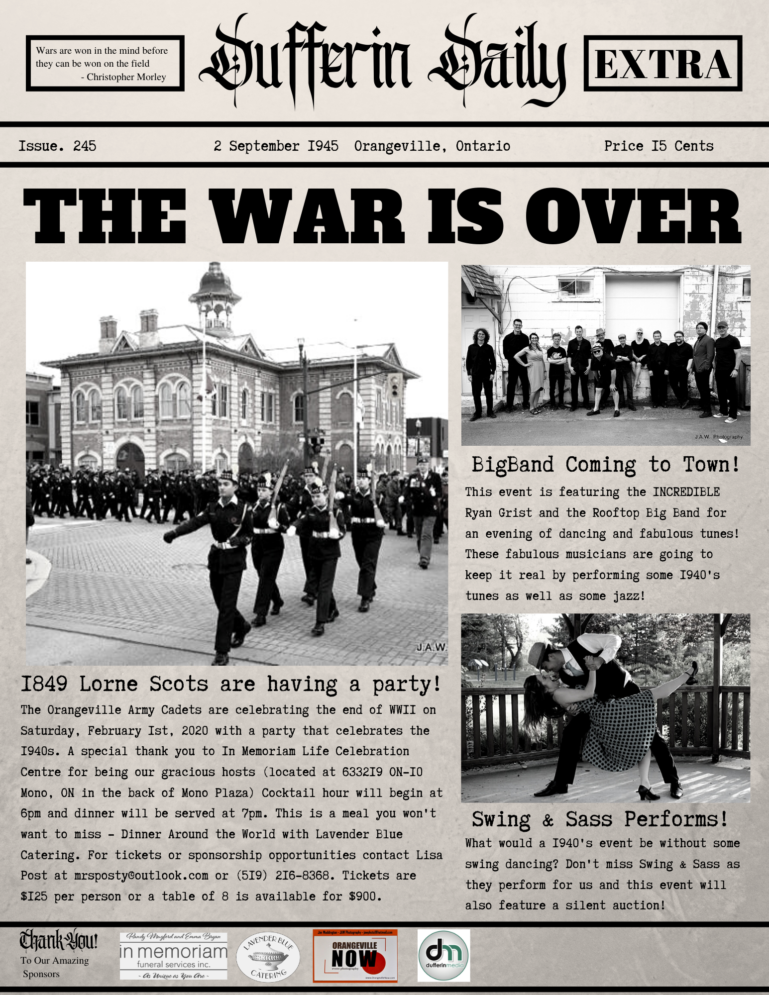 The War is Over Fundraising Gala Orangeville