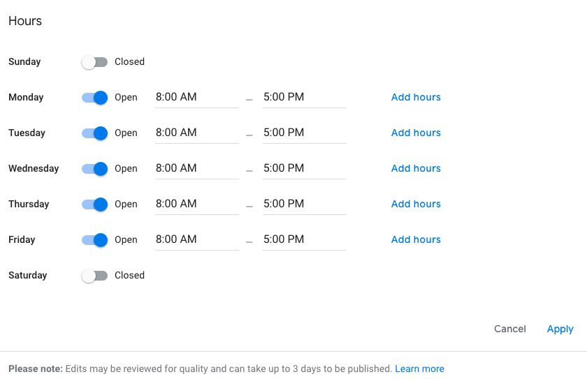 How to update Google My Business Hours
