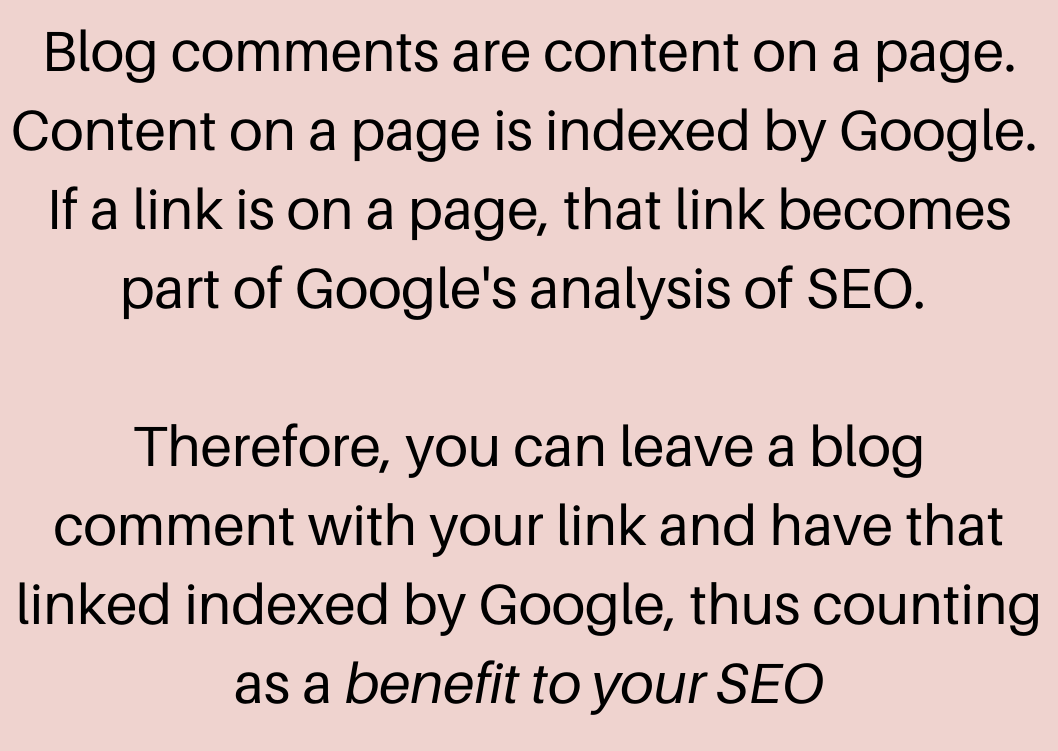 blog comments are good for seo
