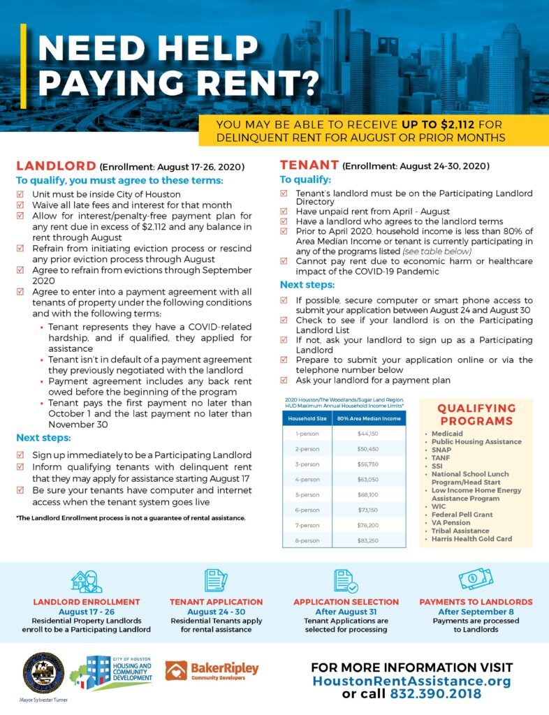 Flyer for the rent relief program. Text says: NEED HELP PAYING RENT? YOU MAY BE ABLE TO RECEIVE UP TO $2,112 FOR DELINQUENT RENT FOR AUGUST OR PRIOR MONTHS. LANDLORD (Enrollment: August 17-26, 2020) To qualify, you must agree to these terms: 5 Unit must be inside City of Houston 5 Waive all late fees and interest for that month 5 Allow for interest/penalty-free payment plan for any rent due in excess of $2,112 and any balance in rent through August 5 Refrain from initiating eviction process or rescind any prior eviction process through August 5 Agree to refrain from evictions through September 2020 5 Agree to enter into a payment agreement with all tenants of property under the following conditions and with the following terms: ∙ Tenant represents they have a COVID-related hardship, and if qualified, they applied for assistance ∙ Tenant isn't in default of a payment agreement they previously negotiated with the landlord ∙ Payment agreement includes any back rent owed before the beginning of the program ∙ Tenant pays the first payment no later than October 1 and the last payment no later than November 30 Next steps: 5 Sign up immediately to be a Participating Landlord 5 Inform qualifying tenants with delinquent rent that they may apply for assistance starting August 17 5 Be sure your tenants have computer and internet access when the tenant system goes live *The Landlord Enrollment process is not a guarantee of rental assistance. TENANT (Enrollment: August 24-30, 2020) To qualify: 5 Tenant's landlord must be on the Participating Landlord Directory 5 Have unpaid rent from April - August 5 Have a landlord who agrees to the landlord terms 5 Prior to April 2020, household income is less than 80% of Area Median Income or tenant is currently participating in any of the programs listed (see table below) 5 Cannot pay rent due to economic harm or healthcare impact of the COVID-19 Pandemic Next steps: 5 If possible, secure computer or smart phone access to submit your application between August 24 and August 30 5 Check to see if your landlord is on the Participating Landlord List 5 If not, ask your landlord to sign up as a Participating Landlord 5 Prepare to submit your application online or via the telephone number below 5 Ask your landlord for a payment plan. 2020 Houston/The Woodlands/Sugar Land Region. HUD Maximum Annual Household Income Limits* Household Size 80% Area Median Income 1-person $44,150 2-person $50,450 3-person $56,750 4-person $63,050 5-person $68,100 6-person $73,150 7-person $78,200 8-person $83,250. QUALIFYING PROGRAMS • Medicaid • Public Housing Assistance • SNAP • TANF • SSI • National School Lunch Program/Head Start • Low Income Home Energy Assistance Program • WIC • Federal Pell Grant • VA Pension • Tribal Assistance • Harris Health Gold Card. LANDLORD ENROLLMENT August 17 - 26 Residential Property Landlords enroll to be a Participating Landlord. TENANT APPLICATION August 24 - 30 Residential Tenants apply for rental assistance. APPLICATION SELECTION After August 31 Tenant Applications are selected for processing. PAYMENTS TO LANDLORDS After September 8 Payments are processed to Landlords. FOR MORE INFORMATION VISIT HoustonRentAssistance.org or call 832.390.2018