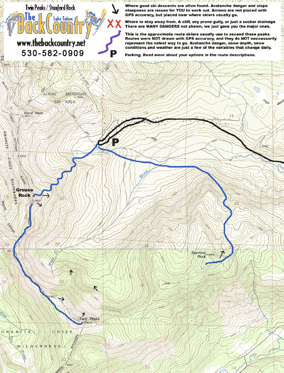 Twin Peaks, Grouse Rock, Stanford Rock Topo Map
