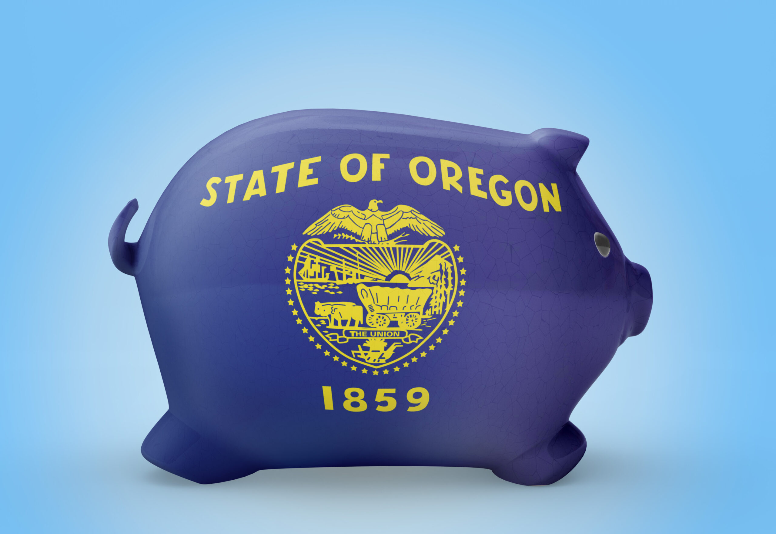 Side view of a piggy bank with the flag design of Oregon.(series)