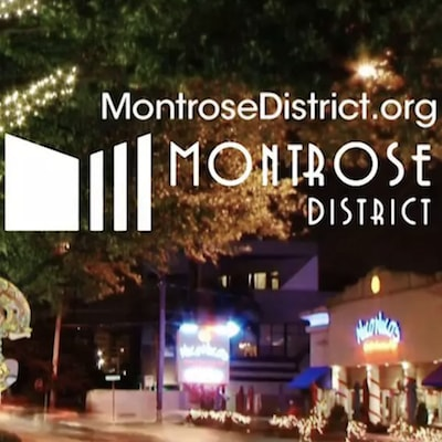 Downtown Montrose with text over the image that says