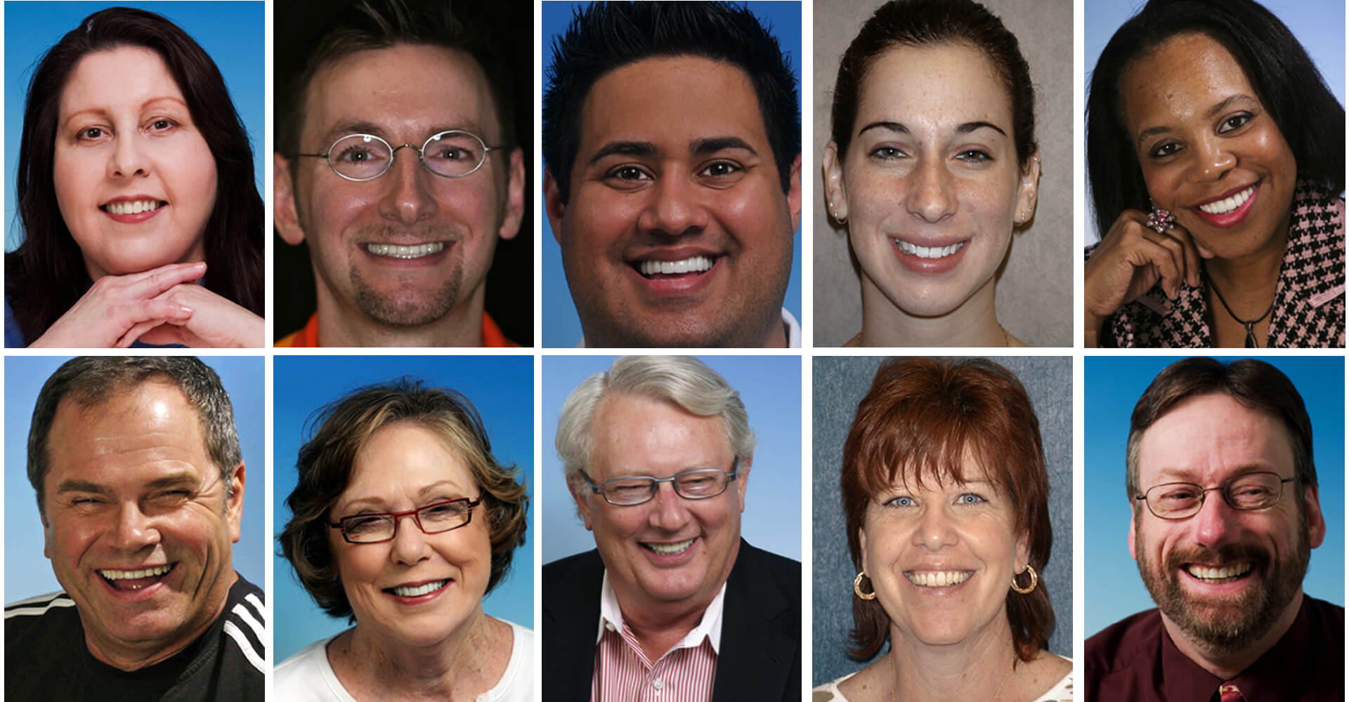 Closeups of several actual patients of Dr. Randy Mitchmore and their beautiful smiles