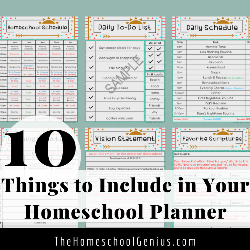 10 Things to Include in Your Homeschool Planner