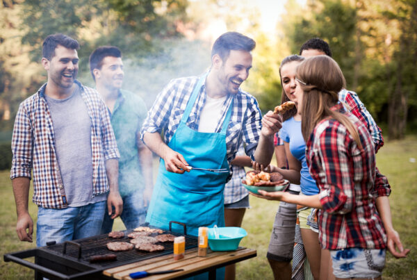 group of people having a barbeque