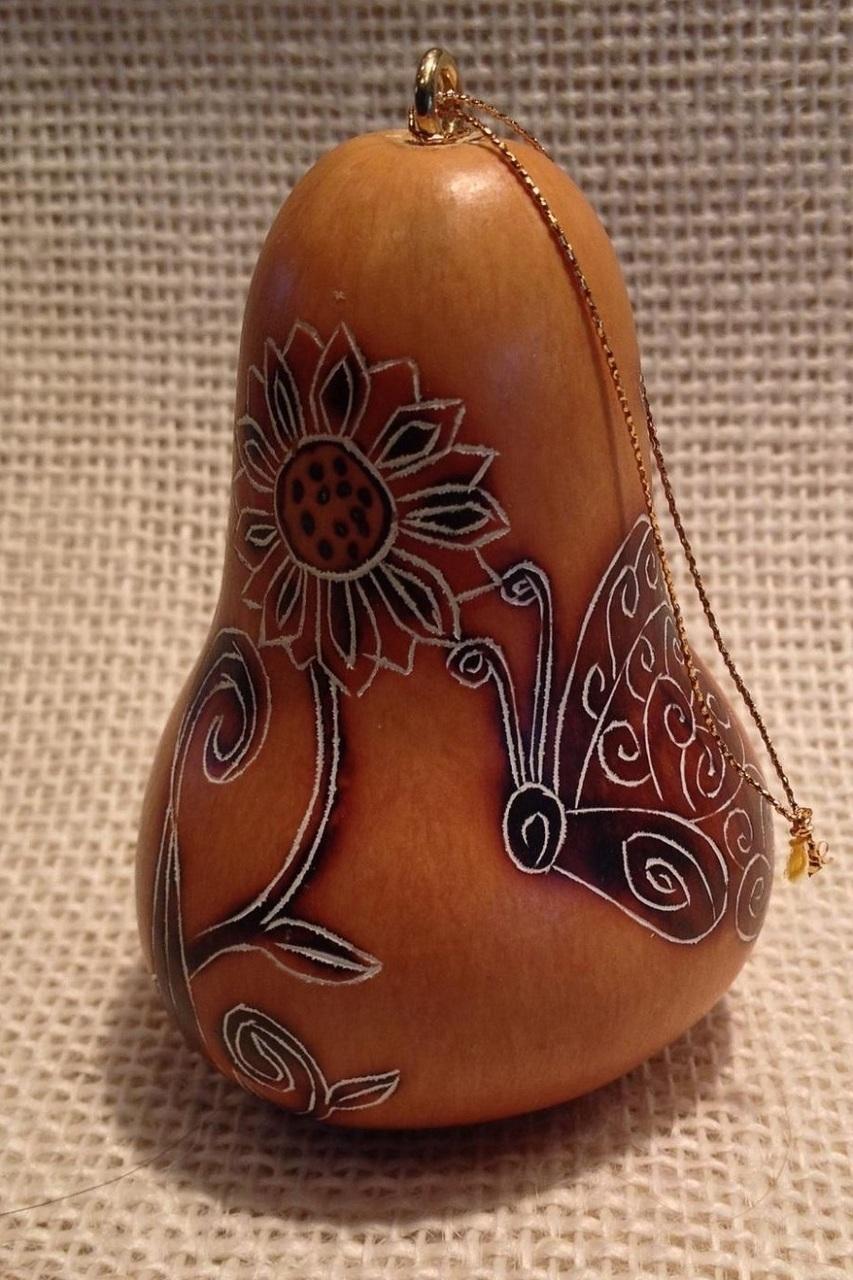 Lucuma Designs - Whimsy Butterflies Gourd Ornament CRG307N