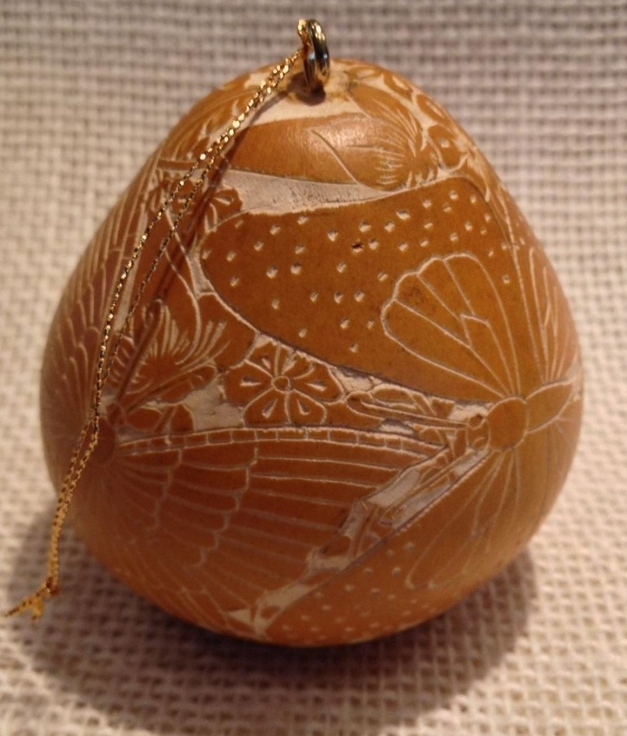 Tropical Butterflies Yellow Gourd Ornament CRG503C-Y