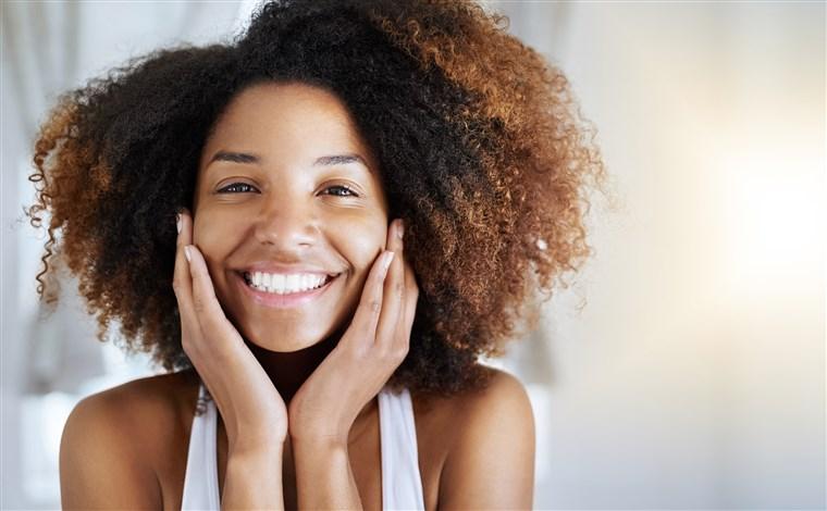happy girl smiling big