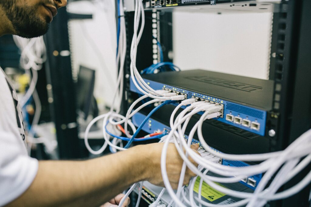Cable connections at data center