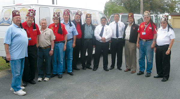 Volunteer Drivers and supervisors for the March 2013 Evaluation Clinic: (l-r)  Tom Violett, Nomad Shine Club; Richard Russell, State Commander; Wesley Wright, Nomad President; Ron Swansen, Nomad Past Commander, Legion of Honor; Evan Graham, Mocha Temple, London, Ontario, Canada; Pedro Garza, Anezeh Temple Patient Coordinator, Monterrey, N.L.; Gilbert Gonzalez;  Gerardo Sausa Perales, Monterrey; Rosendo Duron Contreras, Monterrey; Carlos Rodriguez, Patient Coordinator, Reynosa; Jim Fox, Past State Commander; Dale E. McMillan, Director of Hospital Drivers, Al Amin Temple, La Feria.