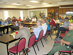 Interested Citizens crowded the USIBWC Conference Room to hear latest report on the South Texas water woes.