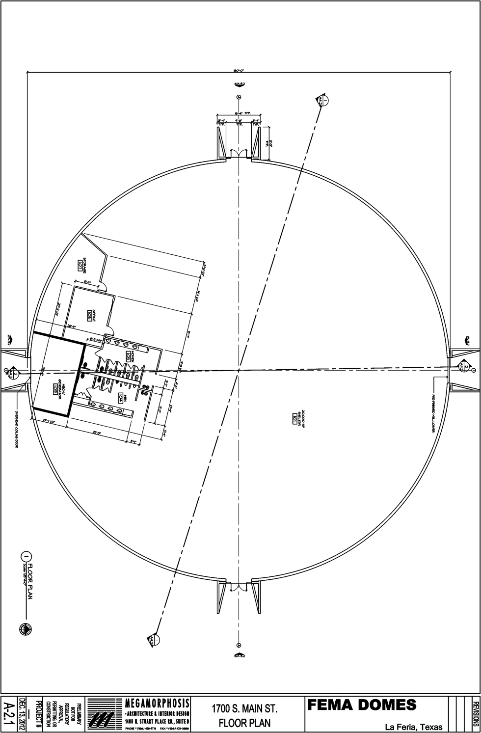 Floor plan for the dome to be built  be built at 1700 S. Main Street with a projected emergency  occupancy of 850 people