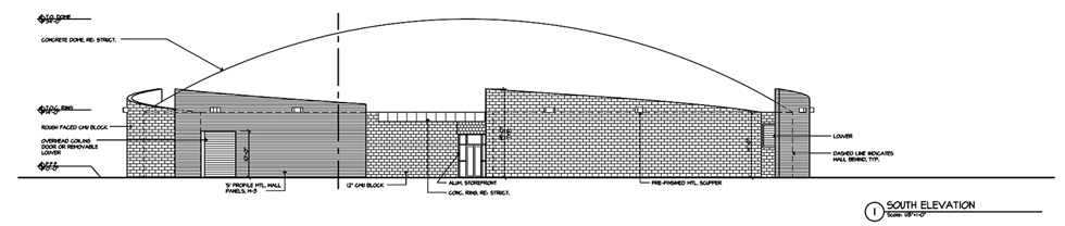 Side view of the dome to be built at 1001 Pancho Maples in La Feria will house an estimated 600 beds during a storm and serve as a wellness center when not used for emergencies.