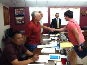 School Board Trustees congratulate the honorees at a recent La Feria Board meeting