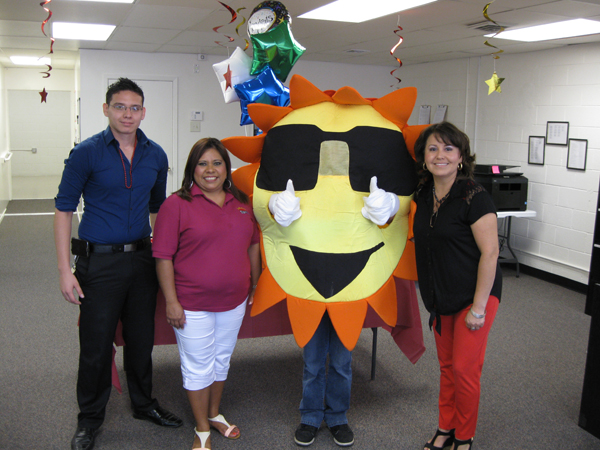 SUNNY and friends welcome guests during Grand Opening.