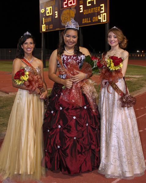 Left: Left to right – Princess Aleiah Garza, Lion Homecoming Queen Kassandra Zambrano, Princess Alexia Lopez.