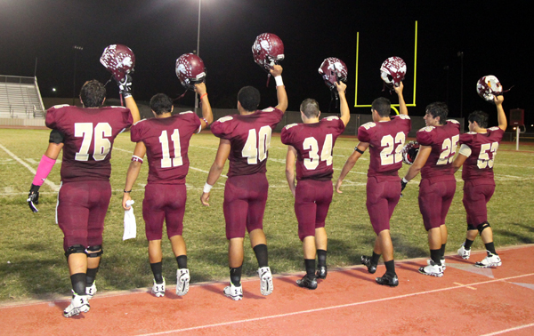 The Seniors make their way off the home field one last time.