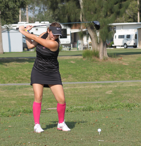 Sammie Lopez concentrating on her shot.