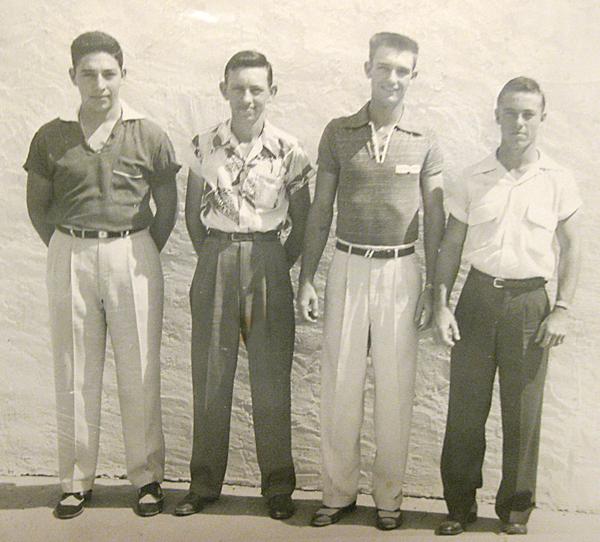 1954 LFHS graduating class: (l-r) Tony Guevara, Dillard Fitch, Buzz Hudson, and Dow Johnson.