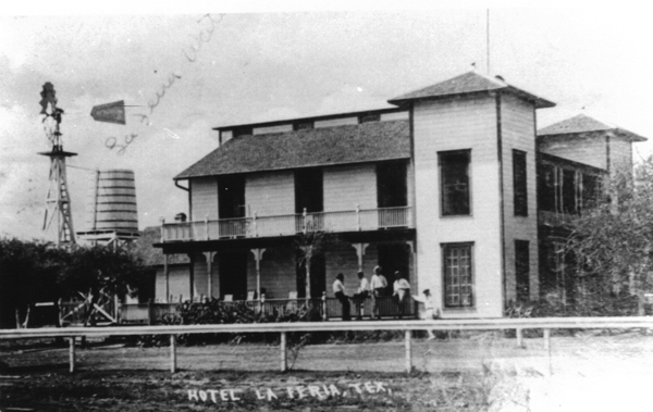 This photo of the La Feria Hotel circa 1912-1914 features what seems to be a fence similar to the kind used in horse racing. Could this have been the infamous track that was used to race horses during the 1913-1914 Fourth of July celebrations in La Feria?