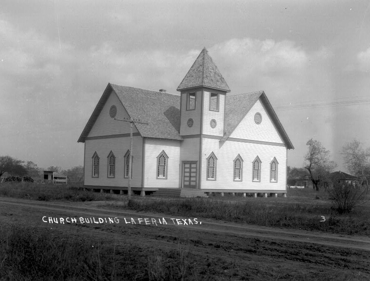 An undated photo of the original First Methodist Church in La Feria (circa 1900-1920). Photo: Robert Runyon Photograph Collection/The Center for American History and General Libraries, University of Texas at Austin