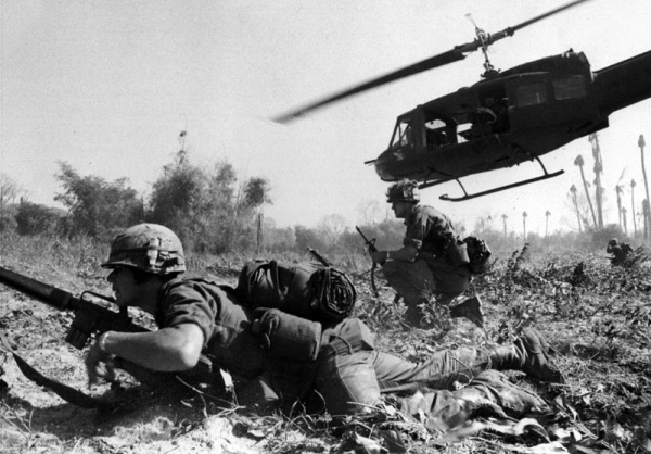 A helicopter leaves soldiers on the ground in Vietnam.  Francis L. Maples, died in Vietnam on 13 November 1967 as the result of gunshot wounds received while on a combat operation when his unit was engaged in a hostile firefight. Photo: U.S. Army photograph/public domain.