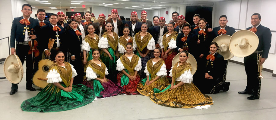 The UTRGV Ballet Folklórico and the Mariachi Juvenil Aztlán pose at The John F. Kennedy Center for the Performing Arts in Washington, D.C., shortly before their June 10 performance at the venue. Their appearance was part of the 2016 National College Dance Festival. Photo: Courtesy UTRGV