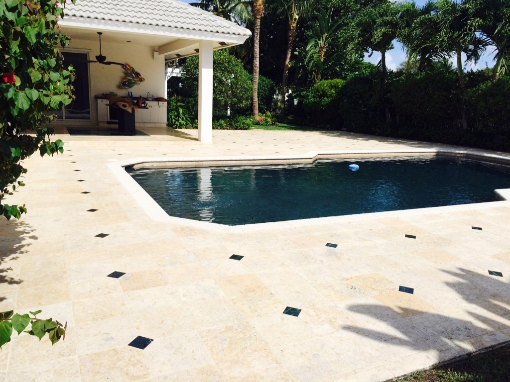 Travertine and Marble pool deck sealing