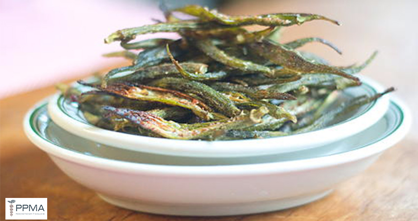 Baked okra chips healthy snack healthy recipes nutritionist dietitian Private Physicians Medical Associates PPMA Newport Beach OC CA