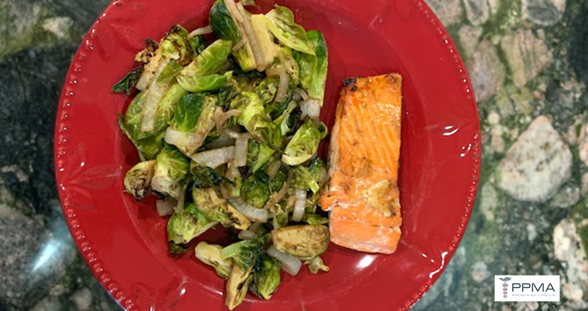 ebanese Garlic Salmon Brussels Sprouts healthy recipes nutritionist dietitian Private Physicians Medical Associates PPMA Newport Beach OC CA SoCal