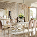 E62 Dining room 1 W  Dining Table 2 Pedestal ,98.42x47.24x30.70 Buffet , 87.00 x 22.44 x 40.94, Mirror , 70.86 x 3.93 x 43.30