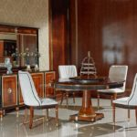 E68 round dining table   Round Dining Table 59.05 x 30.07 / Buffet 78.74 x 21.25 x 36.22 / Mirror 68.89 x 2.7 x 43.70