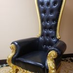 King Throne chair Black 68.14'' H x 36.5'' W x 29'' D Seat  16'' H x 20.5'' W x 22'' D