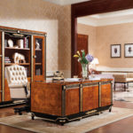 E-69 Study  Writing Desk 70.86x35.43x30.70 / 4 door Bookcase 85.39x18.89x47.24 / Executive Chair 33.46x31.49x47.24
