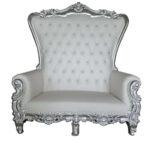 "Silver High-Back Love Seat 70.87""x31.5""x71.65"
