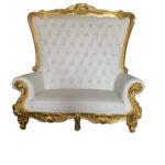 "Gold High-Back Love Seat 70.87""x31.5""x71.65"