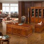"HO-0807 Executive Table 78.74""x39.37""x30.71"" HO-0807A 4-Door High Cabinet 86.61""x19.69""x87.80"""