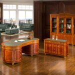 "HO-0809 Executive Table 89.76""x45.28""x31.89""  HO-0809A High Cabinet 86.61""x17.72""x91.34"""
