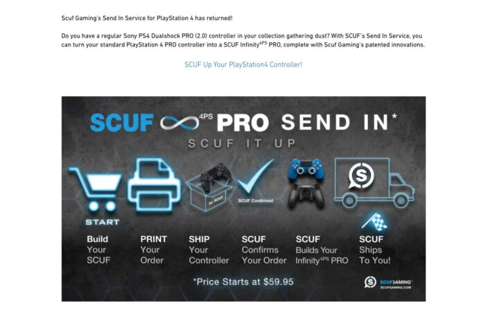 SCUF gaming send in service details, Does SCUF still modify your send-in game controller