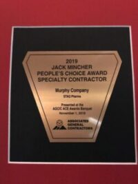 2019 Jack Mincher People's Choice Award Speciality Contractor