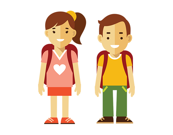 Girl and boy wearing backpacks