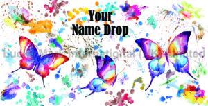 Souvenir Watercolor Butterfly Your Name Drop Design
