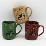 White Dots Moose Design Matte Finish Mug