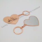 Stainless Steel Rose Gold Heart Shaped Cosmetic Mirror Keychain