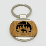 Zinc Alloy Wooden Keychain