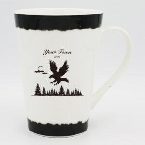 High Quality Fine Bone China White 14oz Taper Mug (Eagle Design)